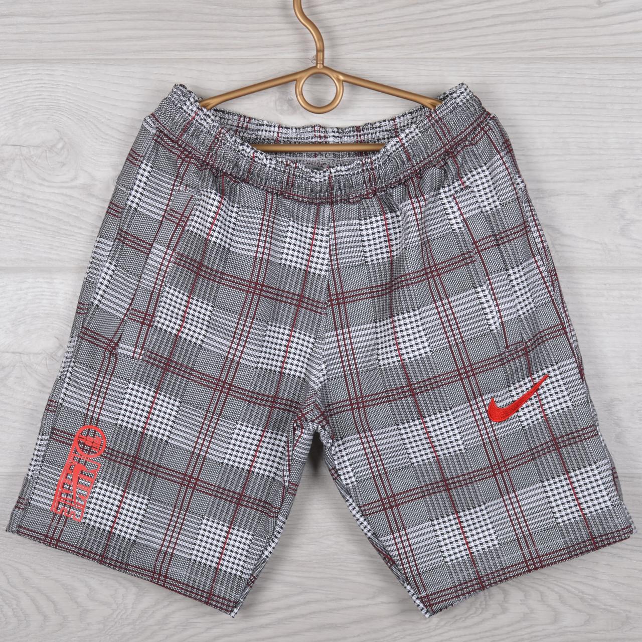 """Шорты подростковые трикотажные """"Nike Red"""". Размеры 40-42-44-46-48 (10-14 лет). Клетка с красной строчкой. Опт"""