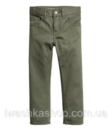Стильные брюки - чиносы цвета хаки для мальчика 4 - 5 лет, р. 110, H&M