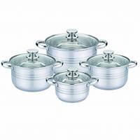Кастрюли UNIQUE UN-5032 набор посуды 8 предметов для дома нержавейка