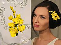 """""""Жёлтые фрезии"""" цветы в прическу для девушки. Заколка из полимерной глины"""