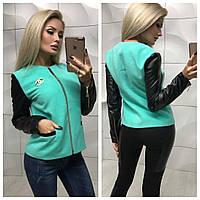 Курточка комбинированная  кашемир + экокожа  C-6924