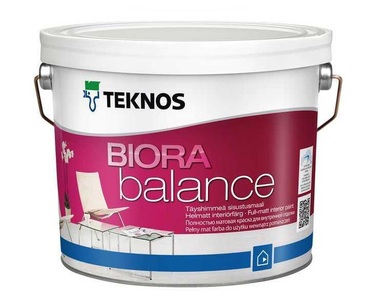 Водорозчинна фарба для стін та стелі Teknos Biora Balance, 2.7 л