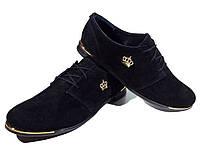 Туфли женские комфорт натуральная замша черные на шнуровке (906)