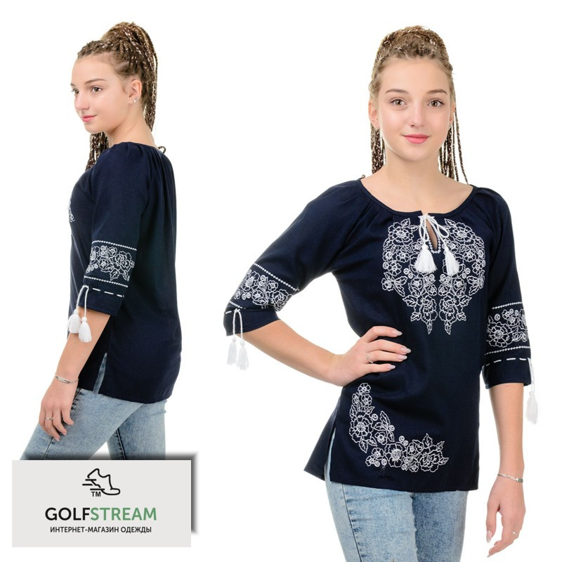Модная вышиванка женская МОДЕРН (темно-синяя)