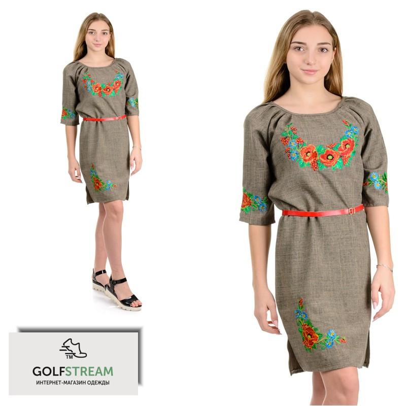 Платье вышиванка Калина (длинный рукав) оливка