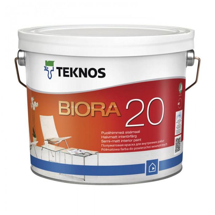 Водорозчинна фарба для стін та стелі Teknos Biora 20, 2.7 л