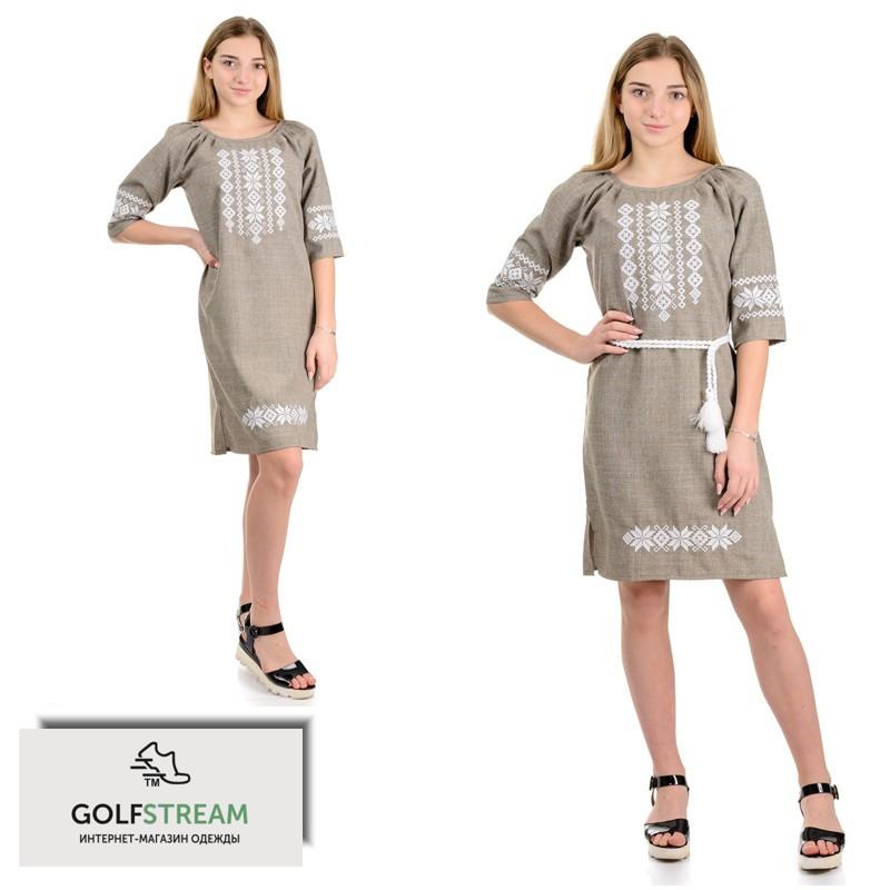 Современное платье с вышивкой лен-габардин (беж)