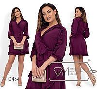 Короткое платье с отделкой-рюш. Большие размеры. Разные цвета.