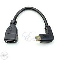 Угловой кабель Mini HDMI to HDMI Mini HDMI папа HDMI мама правый угол