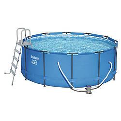 Каркасный круглый бассейн Bestway + фильтр-насос + лестница, 366х133 см  (BW15427)