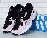 Кроссовки женские Adidas Falcon в стиле Адидас Фалкон, черно розовые