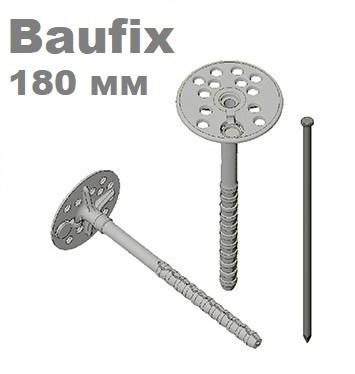 Дюбель 10х180 для крепления теплоизоляции с металлическим гвоздем с термозаглушкой Baufix