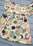 Детское летнее платье Сердечки кулир