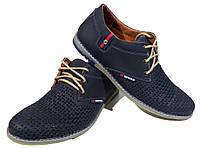Туфли мужские летние натуральная кожа синие на шнуровке (22), фото 1