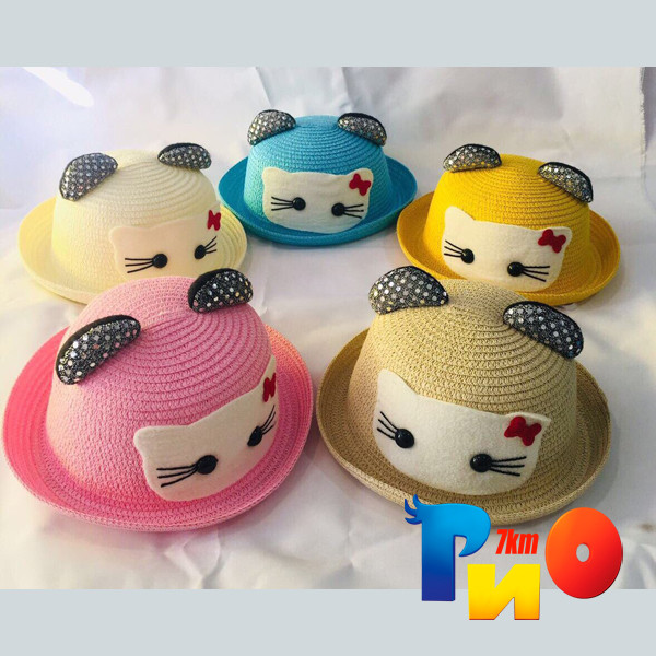 Детская летняя панама, Hello Kitty, с ушками, для девочек  р-р 54, (5 ед в уп)