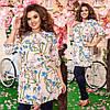 """Летний женский брючный костюм """"Флора"""" с туникой в цветочек (большие размеры), фото 2"""