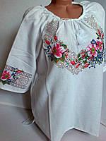 Стильная белая вышиванка Шиповник-2