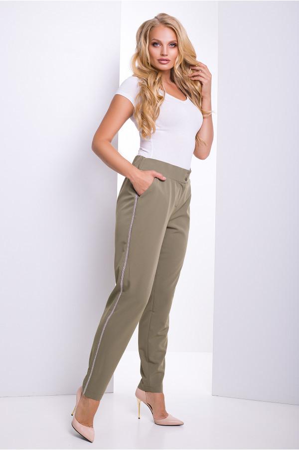 Женские зауженные брюки с резинкой на поясе Benefis (50–56р) хаки