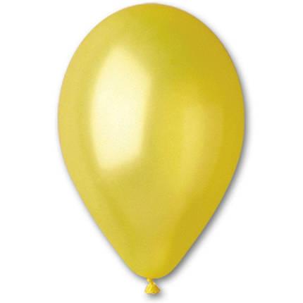 """Латексные шары круглые без рисунка 5"""" 13см Металлик желтый """"GEMAR"""" Италия, фото 2"""