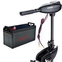 Лодочный электромотор Fisher 36 + герметичный аккумулятор 100 Ач (AGM)