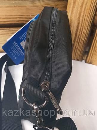 Мужская сумка черного цвета на один отдел, съемный регулируемый ремешок, фото 2