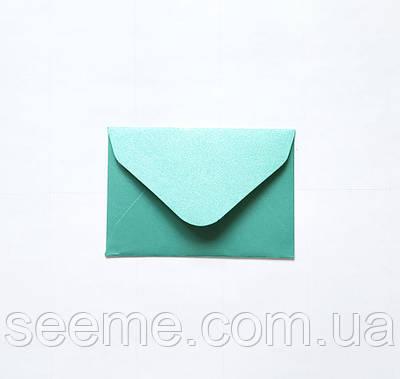 Конверт 93х64 мм, цвет зелено-голубой (teal).