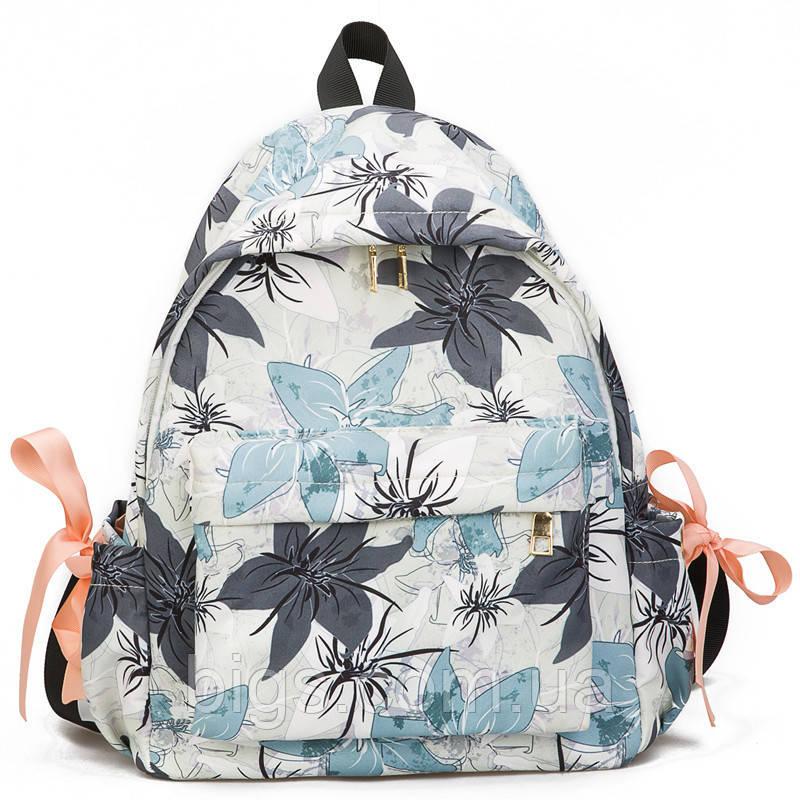 073f4ca4a702 Рюкзак городской белый 33х27х13 см с цветами ( стильные рюкзаки ) - Bigs в  Киеве