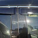 Дефлекторы окон (ветровики) с хром накладкой Hyundai Santa Fe 2012-> 4шт (Hic) Хром, фото 3