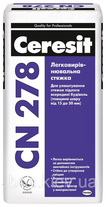 CERESIT СN-278 Легковыравнивающаяся стяжка (15-50 мм), 25кг