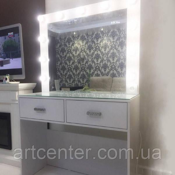 Туалетный столик с двумя выдвижными ящиками и гримерным зеркалом