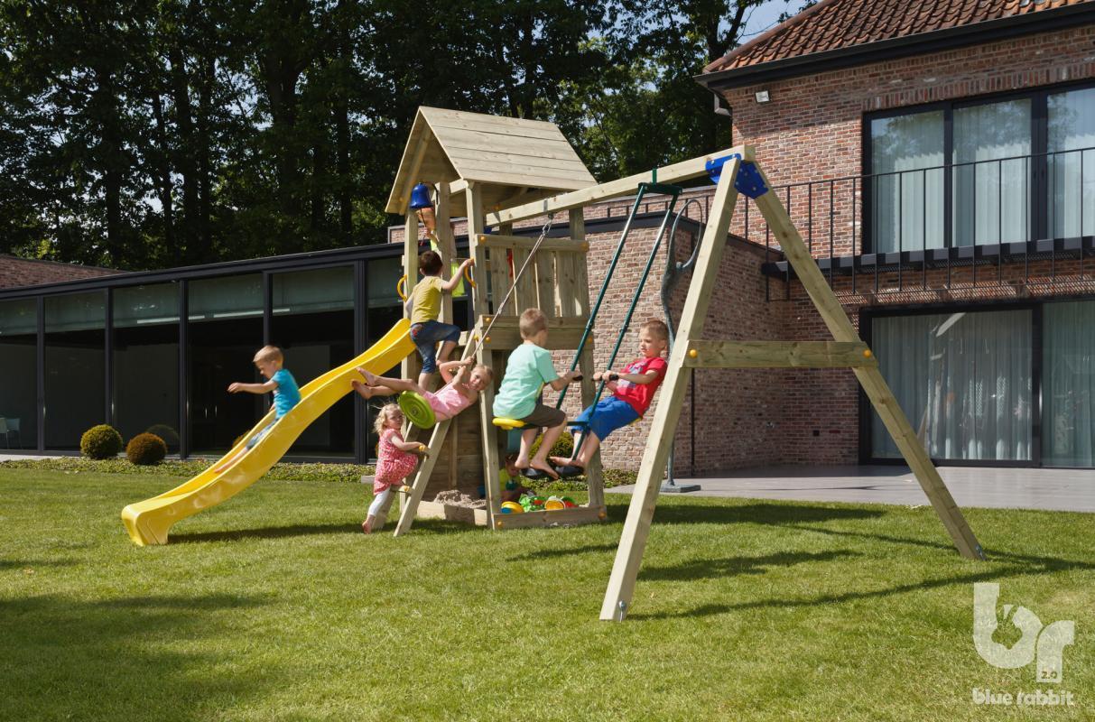 Спорткомплекс деревянный для детей на дачу Blue Rabbit BELVEDERE + SWING