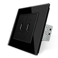 Розетка два USB с блоком питания 2.1А 5V Livolo черный стекло(VL-C792U-12), фото 1