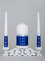 Свадебные свечи синие с кружевом
