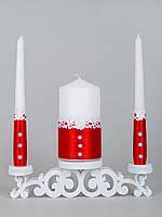 Свадебные свечи красные с кружевом