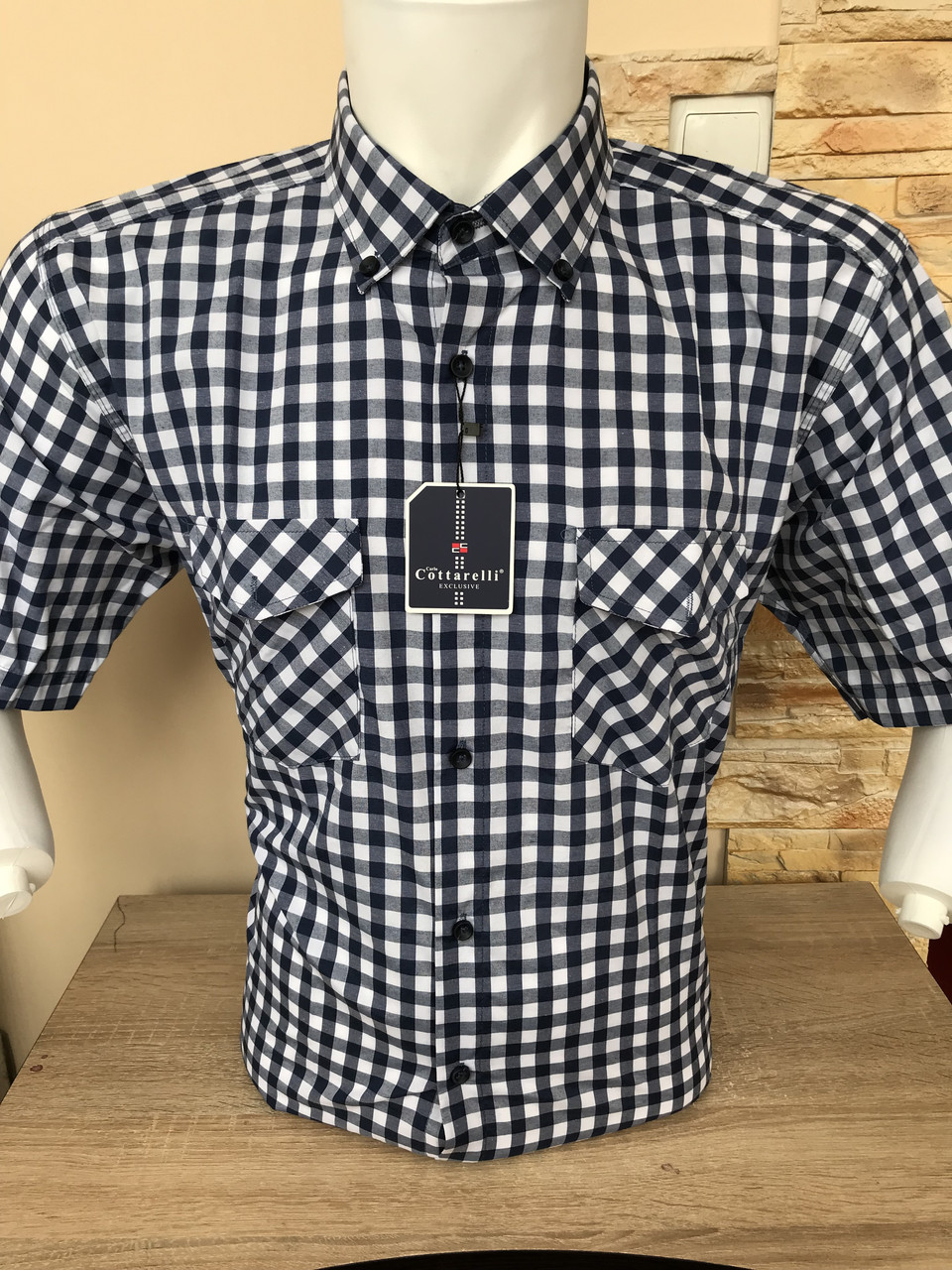 Рубашка  коттон Cottarelli с коротким рукавом