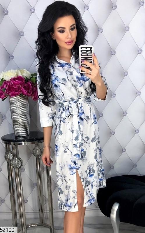 Молодежное платье до колен с резинкой на талии сбоку разрезы рукав три четверти цветочный принт