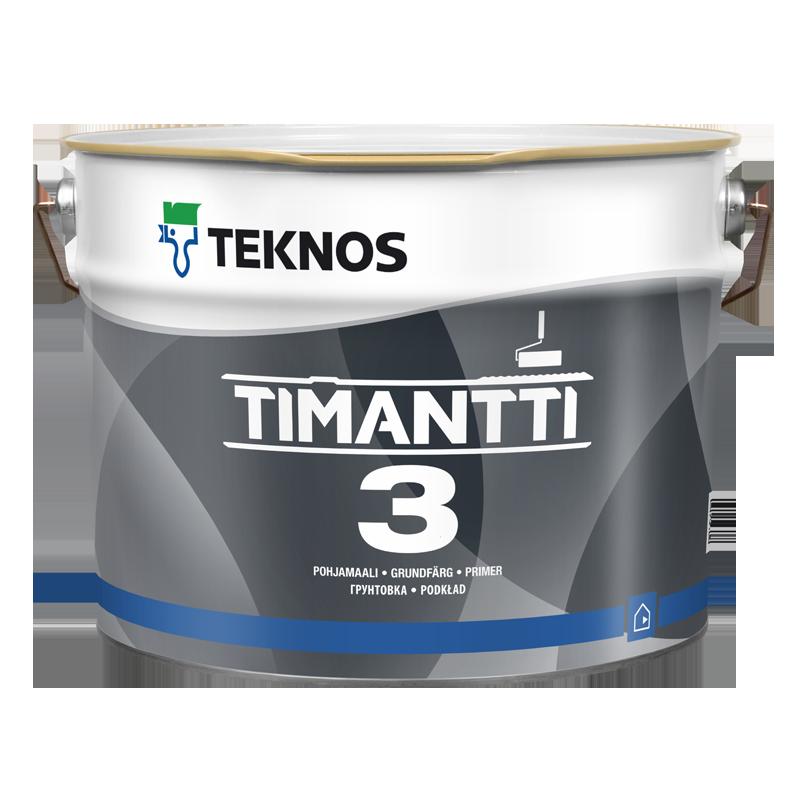 Водорозчинна грунтувальна фарба для стін та стелі Teknos Timantti 3, 9 л