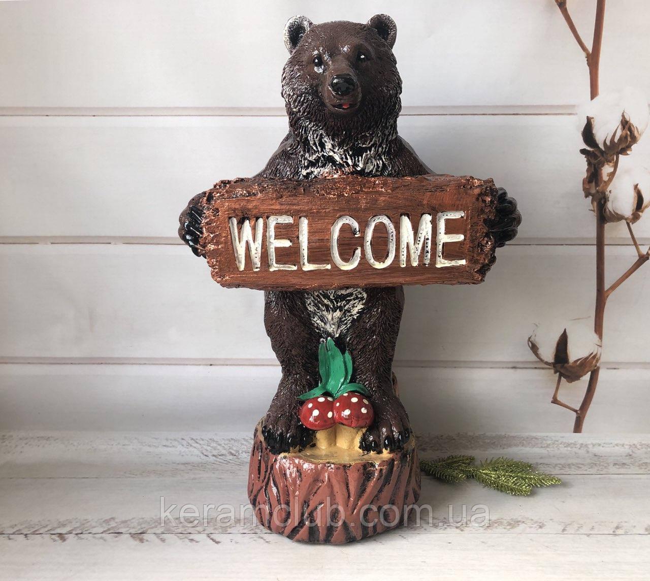 Садовая фигура медведь WELCOME
