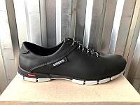 Кроссовки мужские Adidas кожа черные большие размеры AD0079