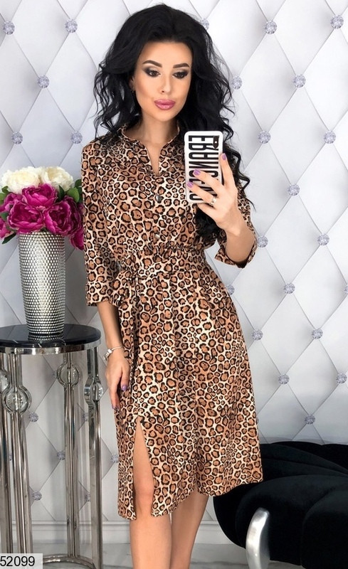 Оригинальное платье миди на талии резинка с разрезами рукав три четверти леопардовое