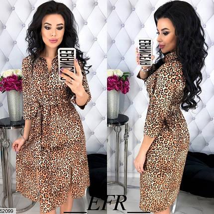 Оригинальное платье миди на талии резинка с разрезами рукав три четверти леопардовое, фото 2