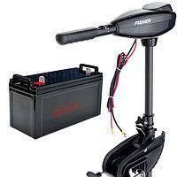 Лодочный электромотор Fisher 46 + герметичный аккумулятор 120 Ач (AGM)