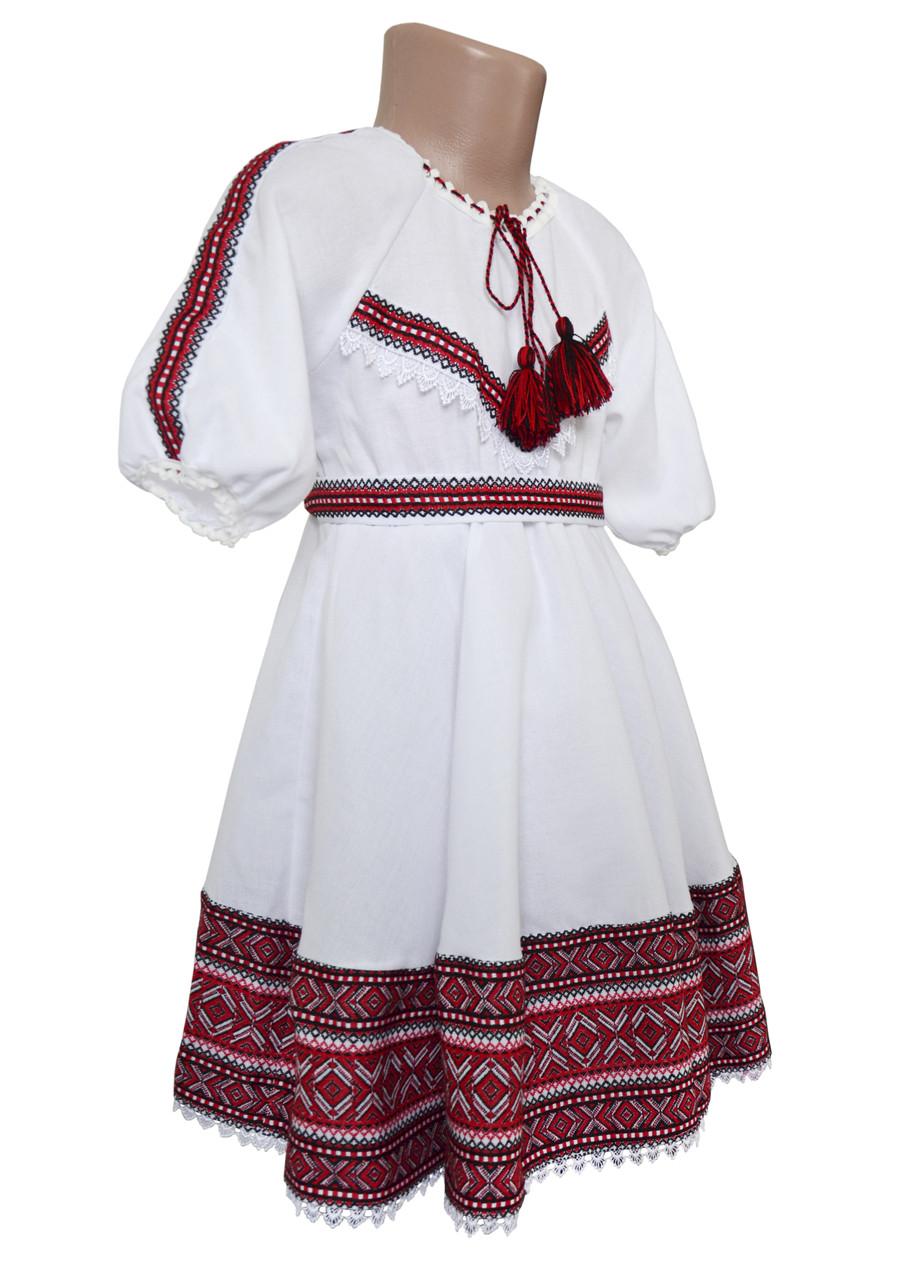 Платье с фатином для девочки с домотканого полотна с рукавом 3/4