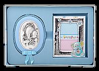Серебряная рамочка и икона Мария с младенцем (набор)
