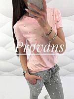 Женская красивая легкая летняя футболка с прибитыми бусинками (двухнитка) 4 цвета