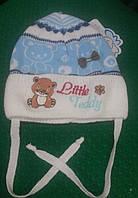 """Шапка детская для девочки на завязках """"Маленький мишка """" голубая , 40-42 размер."""