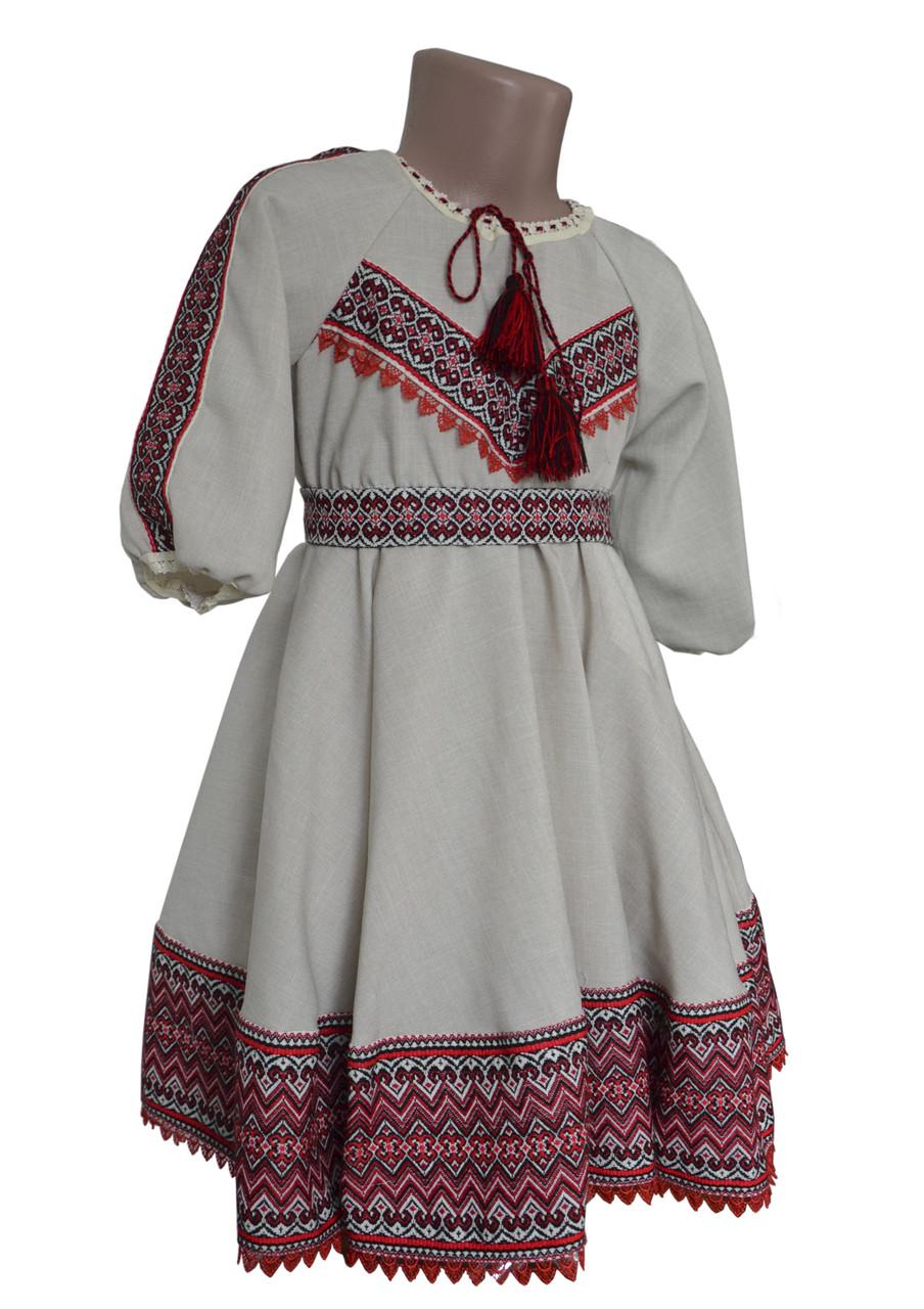 Вишита сукня з фатіном для дівчинки на льоні із геометричним орнаментом