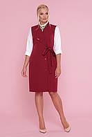 Платье-жилет бордового цвета батал