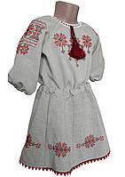 Комплект для девочки на льне блузка с рукавом 3/4 и пышная юбочка