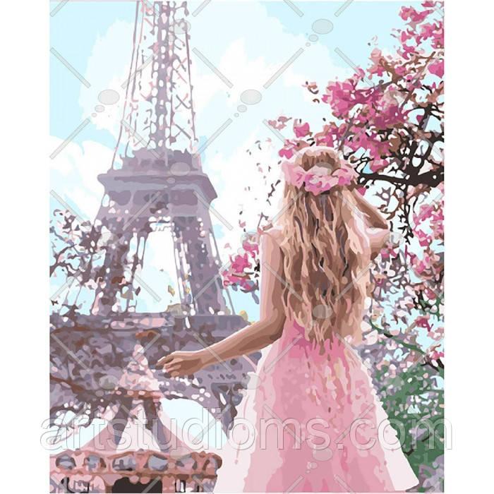 Набор для рисования картины своими руками Влюбленная в Париж 40х50см, Без коробки
